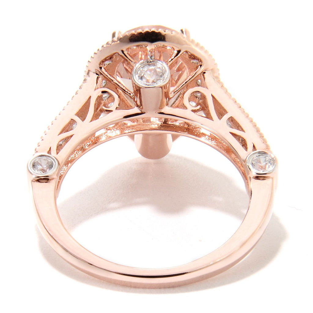 14k Rose Gold Morganite and Diamond Solitaire Pear Shape Ring (3/4cttw, H-I Color, I1-I2 Clarity), - pinctore