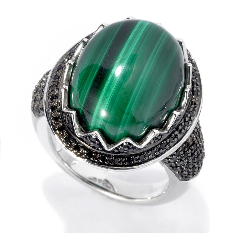 Pinctore Rhodium Over Sterling Silver 21.08ctw Malachite Ring - pinctore