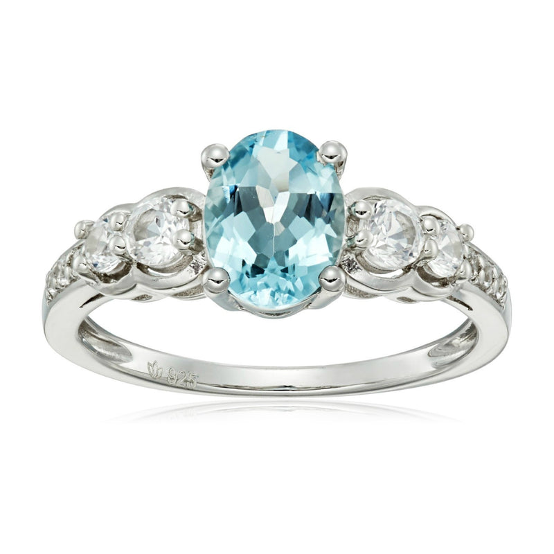 Pinctore Sterling Silver Aquamarine & Created White Sapphire Ring - pinctore