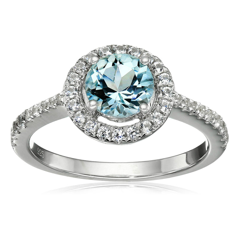 Pinctore Ster Silver Aquamarine & White Sapphire Solitaire Halo Engagement Ring - pinctore