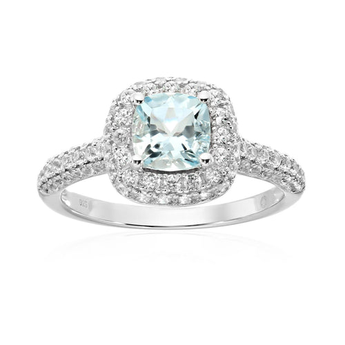 Pinctore Sterling Silver Aquamarine Cushion Halo Engagement Ring - pinctore