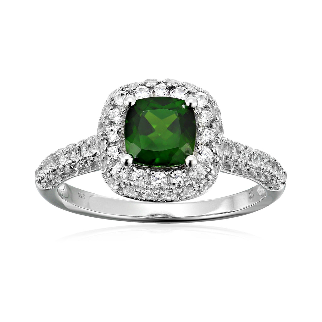 Pinctore Sterling Silver Chrome Diopside Halo Green Engagement Ring - pinctore