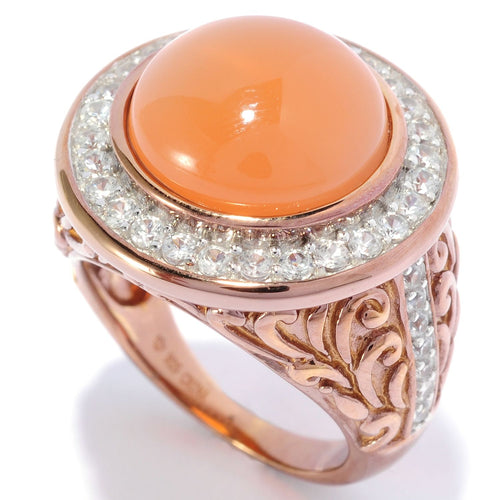 Pinctore 18K Chocolate Gold Over Silver 9.45ctw Peach Moonstone Cocktail Ring - pinctore
