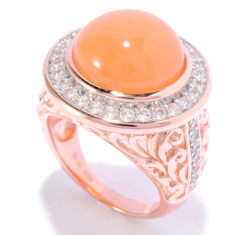 Pinctore 18K Rose Gold Over Silver 9.45ctw Peach Moonstone Ring - pinctore