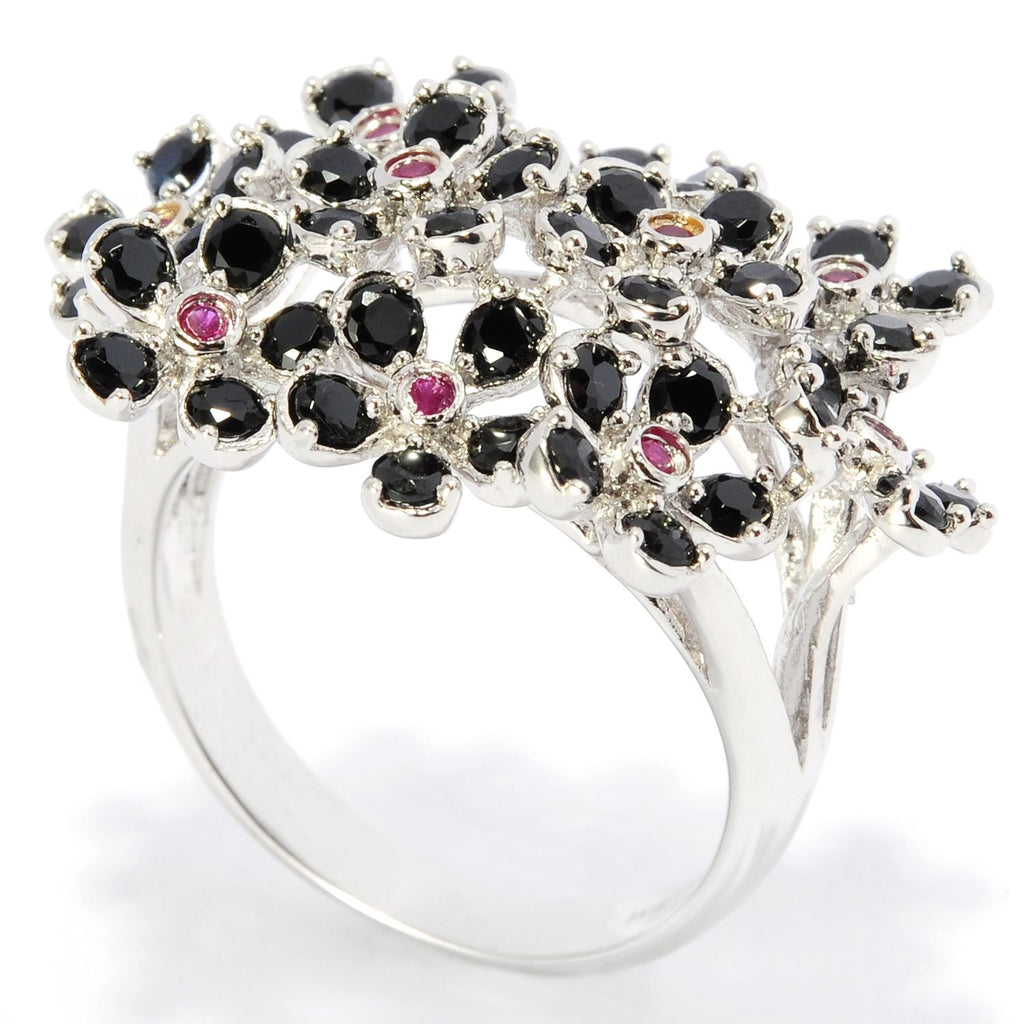 Pinctore Sterling Silver 2.12ctw Black Spinel and Ruby Cluster Ring - pinctore