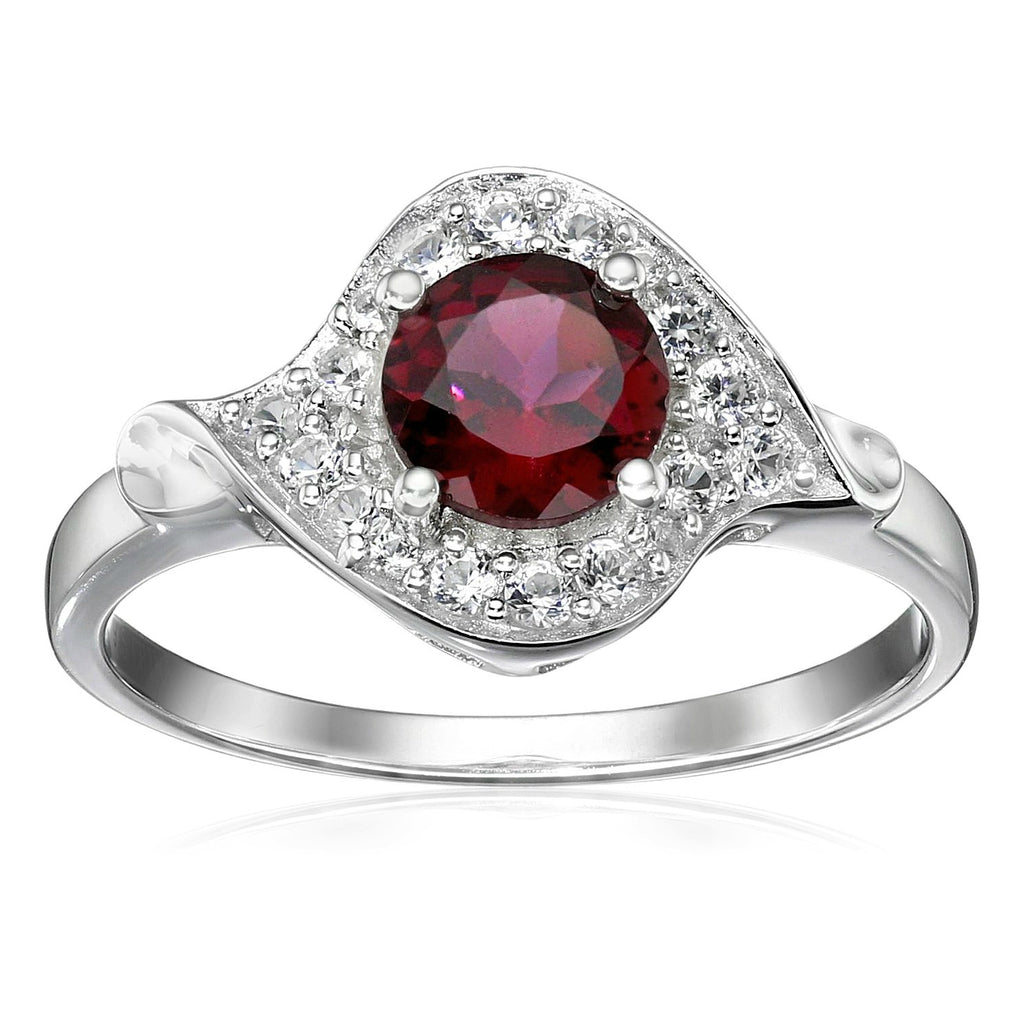 Pinctore Sterling Silver Rhodolite and Created White Sapphire Halo Solitaire Ring - pinctore