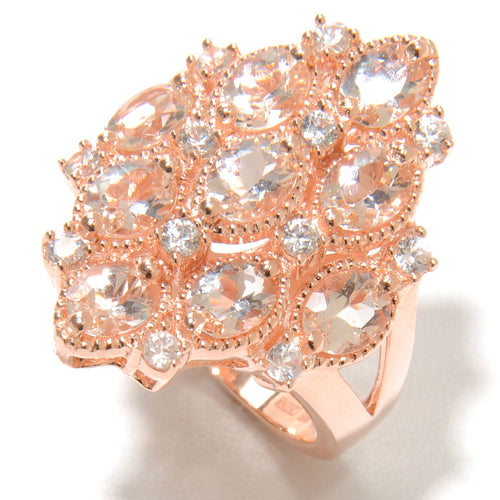 Pinctore Rose Gold Vermeil 3.19ctw Morganite Cluster Cocktail Ring - pinctore