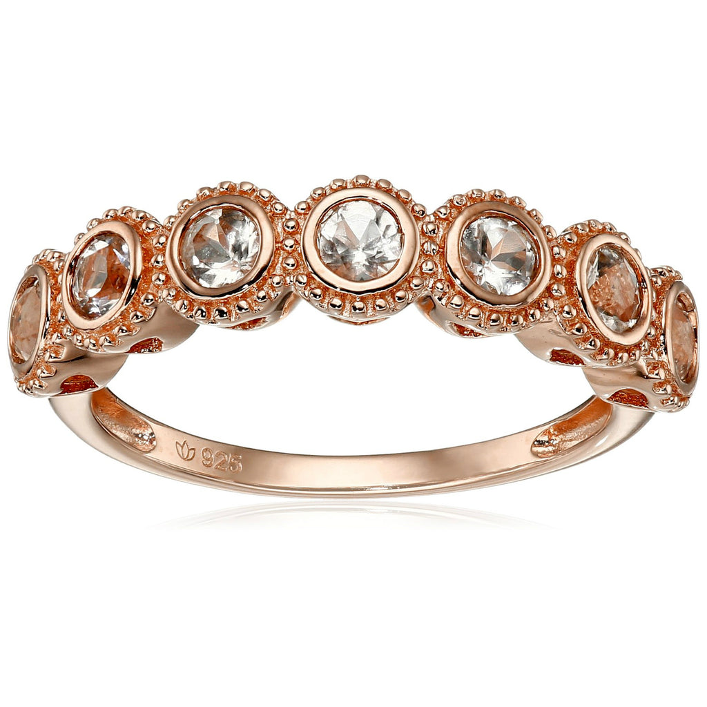 Pinctore Rose Gold-Plated Silver Morganite Round 7-Stone Band Stackable Ring - pinctore