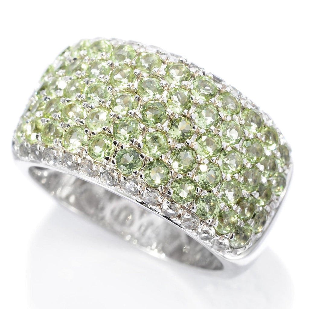 Pinctore Sterling Silver Round 2.64ctw Peridot & White Topaz Wide Band Ring - pinctore