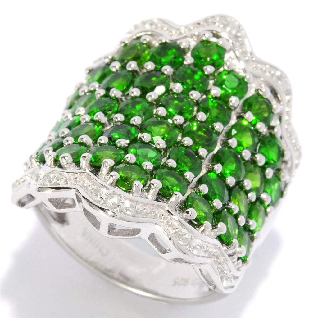 Pinctore Sterling Silver 6.5ctw Chrome Diopside & White Zircon Wavy Band Ring - pinctore