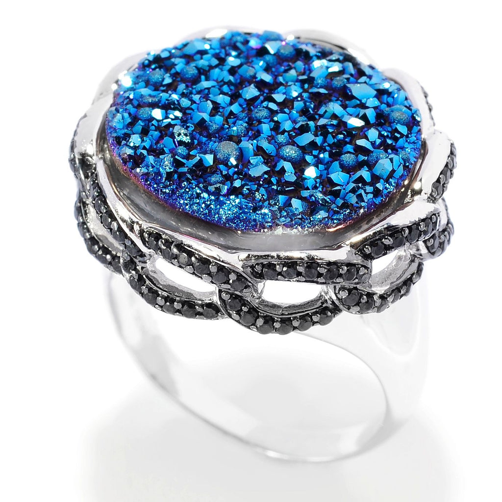 Pinctore Sterling Silver 17mm Blue Drusy & Black Spinel Link Border Cocktail Ring - pinctore