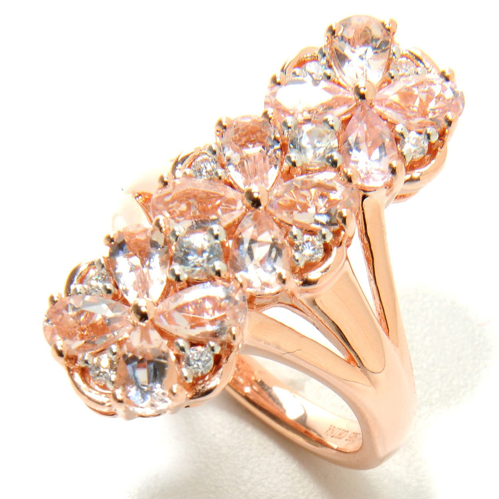 Pinctore 18K Rose Vermeil over Sterling Silver Morganite White Zircon Elongated Flower Ring - pinctore