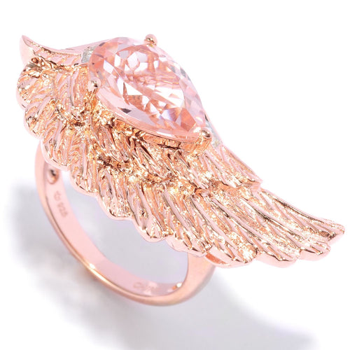 Pinctore 18K Gold Vermeil 2.50ctw Morganite & White Zircon Angel Wing Ring - pinctore