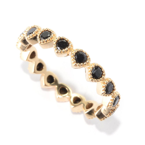 Pinctore 14K Yellow Gold Over Ster Silver 0.9ctw Blackk Spinel Ring - pinctore