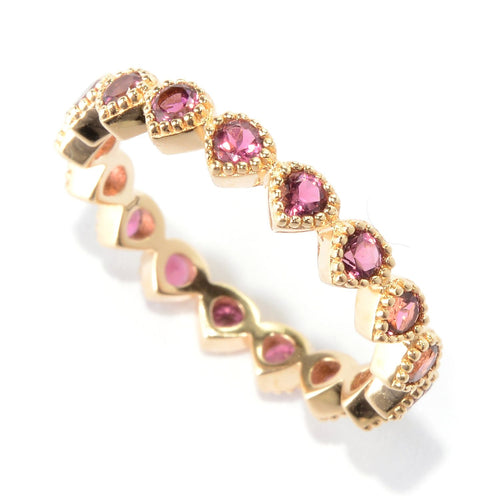 Pinctore 14K Yellow Gold Over Ster Silver 0.8ctw Pink Tourmaline Ring - pinctore