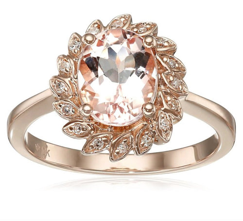 10k Rose Gold Morganite and Diamond Flower Halo Ring (0.07 cttw, H-I Color, I1-I2 Clarity), - pinctore