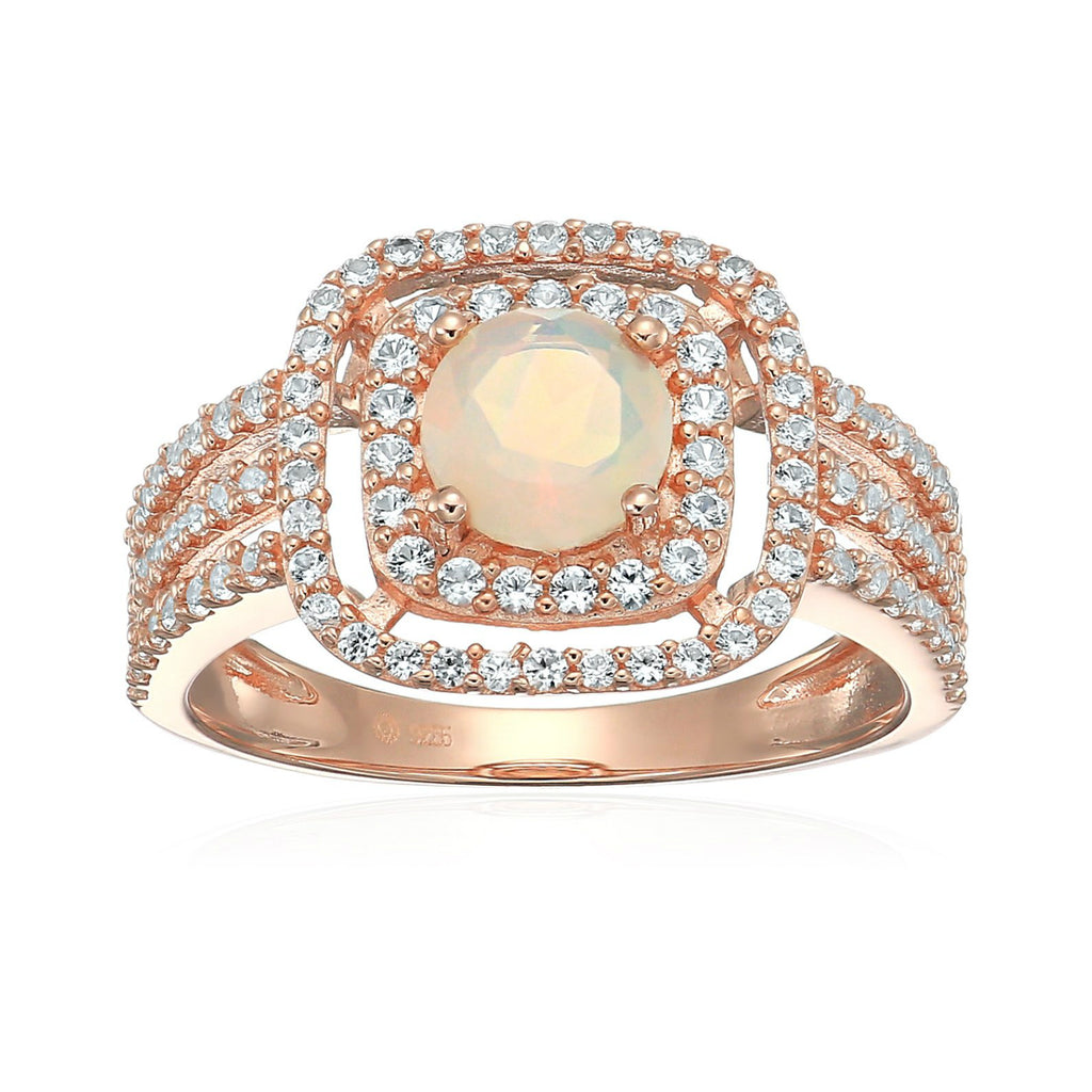 Pinctore Rose Gold-Plated Silver Ethiopian Opal And Created White Sapphire Double Halo Engagement Ring - pinctore