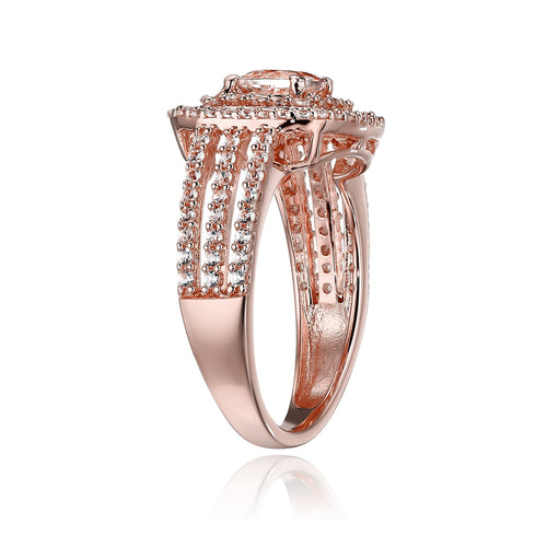 Pinctore Rose Gold-Plated Silver Morganite and Created White Sapphire Double Halo Engagement Ring