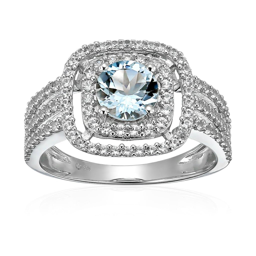Sterling Silver Aquamarine And Created White Sapphire Double Halo Engagement Ring - pinctore