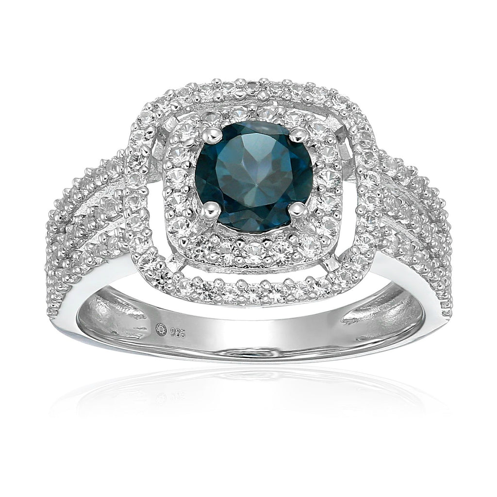 Pinctore Sterling Silver London Blue Topaz And Created White Sapphire Double Halo Engagement Ring - pinctore