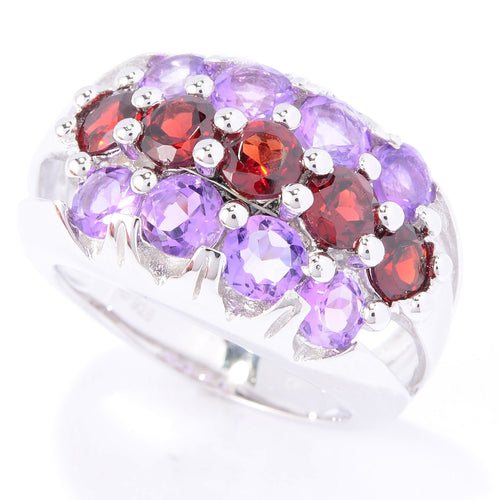 Pinctore Sterling Silver Brilliant Cut Round Garnet & Amethyst Three-Row Ring - pinctore