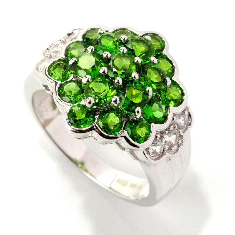 Pinctore Sterling Silver 3.04ctw Chrome Diopside & White Zircon Cluster Ring - pinctore
