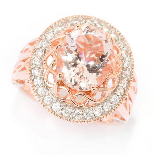 Pinctore 18K Rose Gold Over Silver 3.84ctw Morganite Cocktail Ring - pinctore