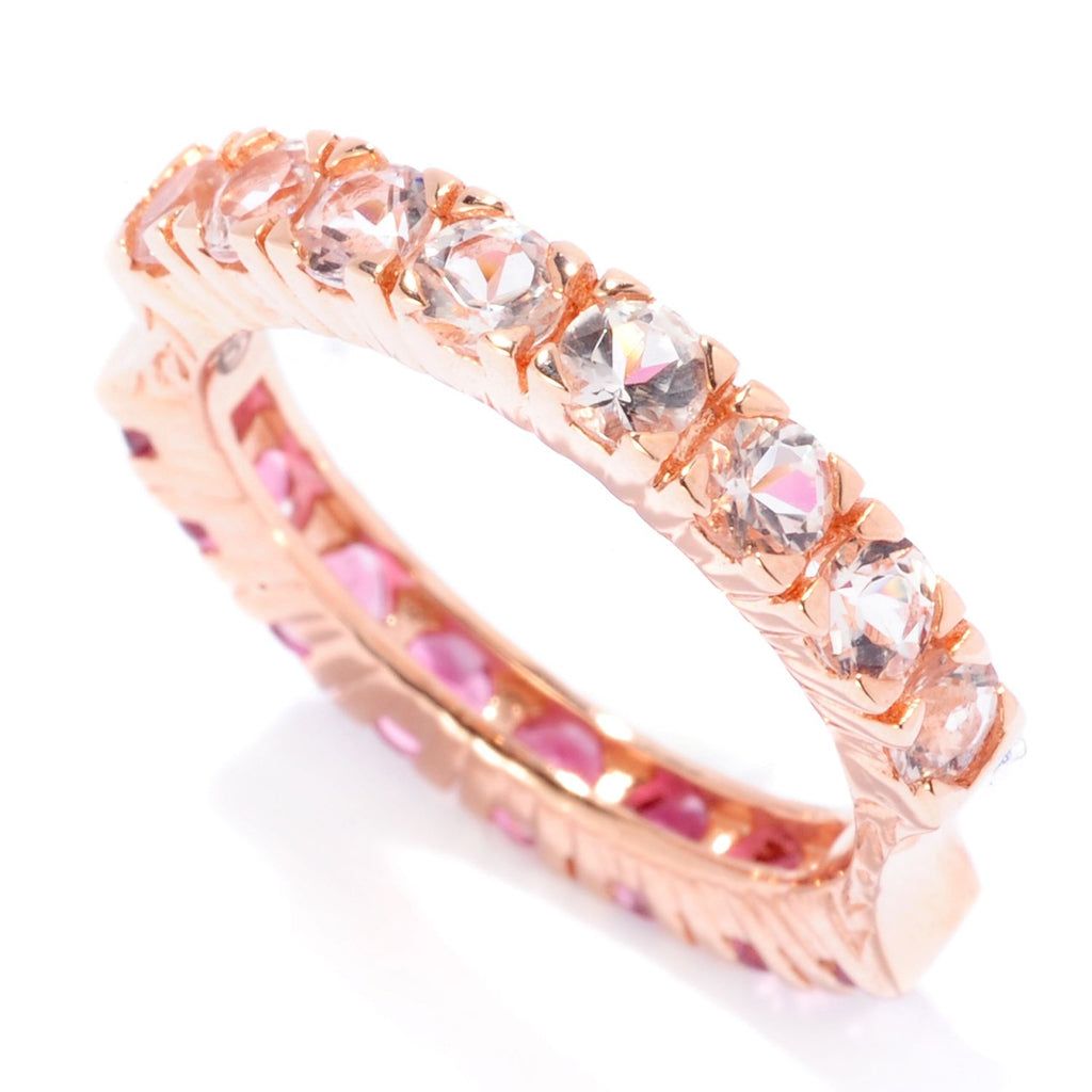 Pinctore SS/ 18K Rose Vermeil Morganite & Pink Tourmaline Reversible Band Ring - pinctore