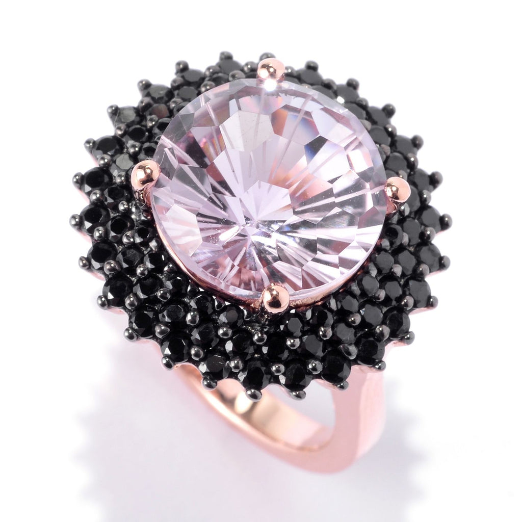 Pinctore 18K Rose Vermeil 12mm Round Pink Amethyst,Black Spinel Halo Cocktail Ring - pinctore