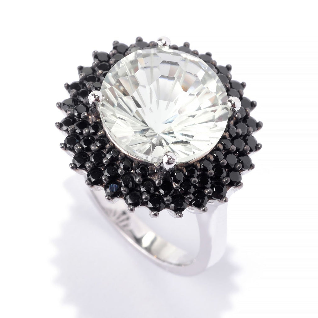 Pinctore SS/ 12mm Round 6.21ctw Green Amethyst & Black Spinel Halo Cocktail Ring - pinctore