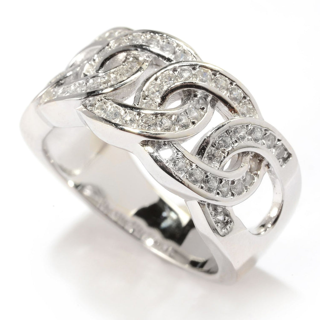 Pinctore Sterling Silver White Zircon Circle Link Band Ring - pinctore