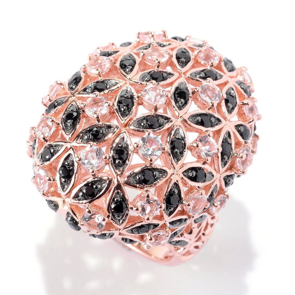 Pinctore 18K Rose Vermeil 3.5ctw Morganite & Black Spinel Flower Dome Ring - pinctore