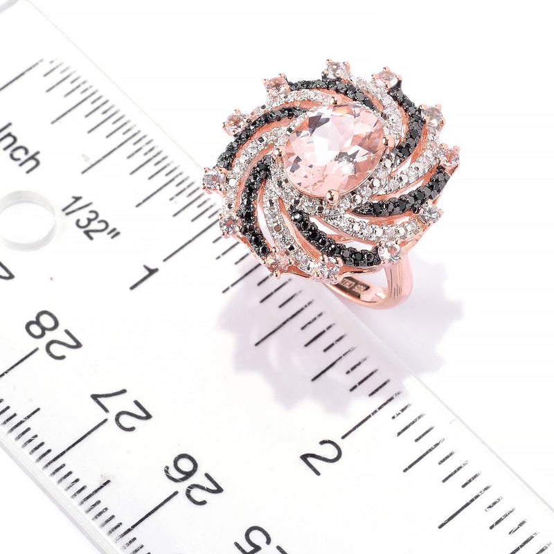 Pinctore 18K Rose Vermeil 2.9ctw Morganite, Black Spinel & White Zircon Swirl Ring - pinctore
