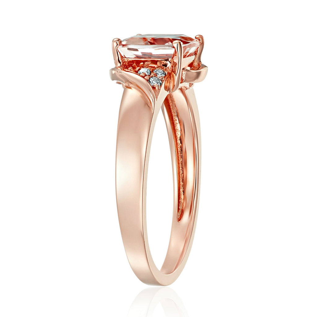 Pinctore 14k Rose Gold Morganite, Diamond Cushion Engagement Ring - pinctore