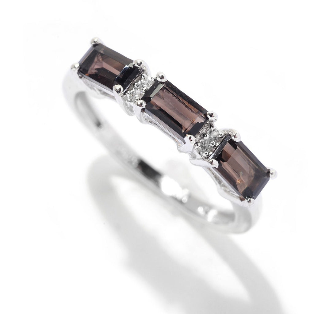 Pinctore Sterling Silver Baguette 0.92ctw Smoky Quartz & White Zircon Band Ring - pinctore