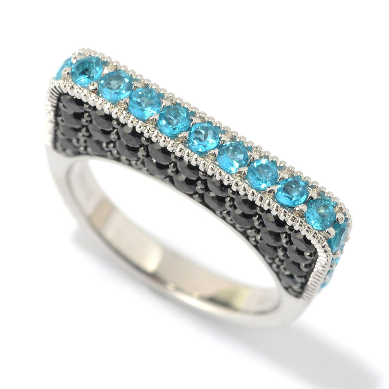 Pinctore SS/ 2.7ctw Neon Apatite & Black Spinel Flat Top Stack Band Ring - pinctore
