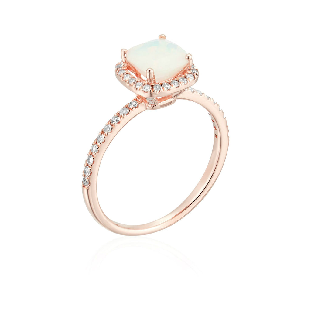10k Rose Gold Ethiopian Opal and Diamond Cushion Halo Engagement Ring (1/4cttw, H-I Color, I1-I2 Clarity), - pinctore