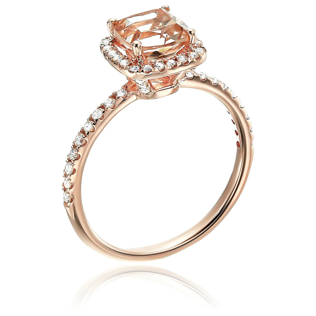 10k Rose Gold Morganite and Diamond Cushion Halo Engagement Ring (1/4cttw, H-I Color, SI1-SI2 Clarity), - pinctore