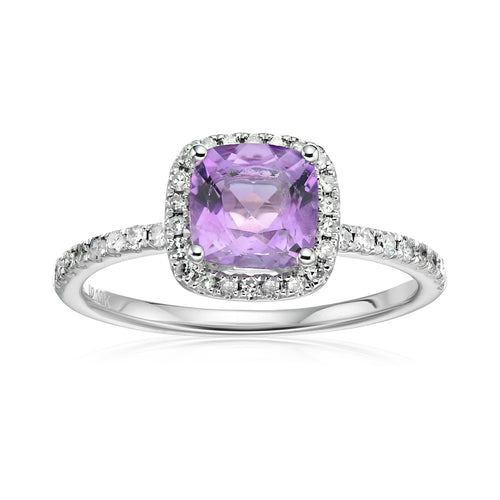 10k White Gold African Amethyst and Diamond Cushion Halo Engagement Ring (1/4cttw, H-I Color, I1-I2 Clarity), - pinctore