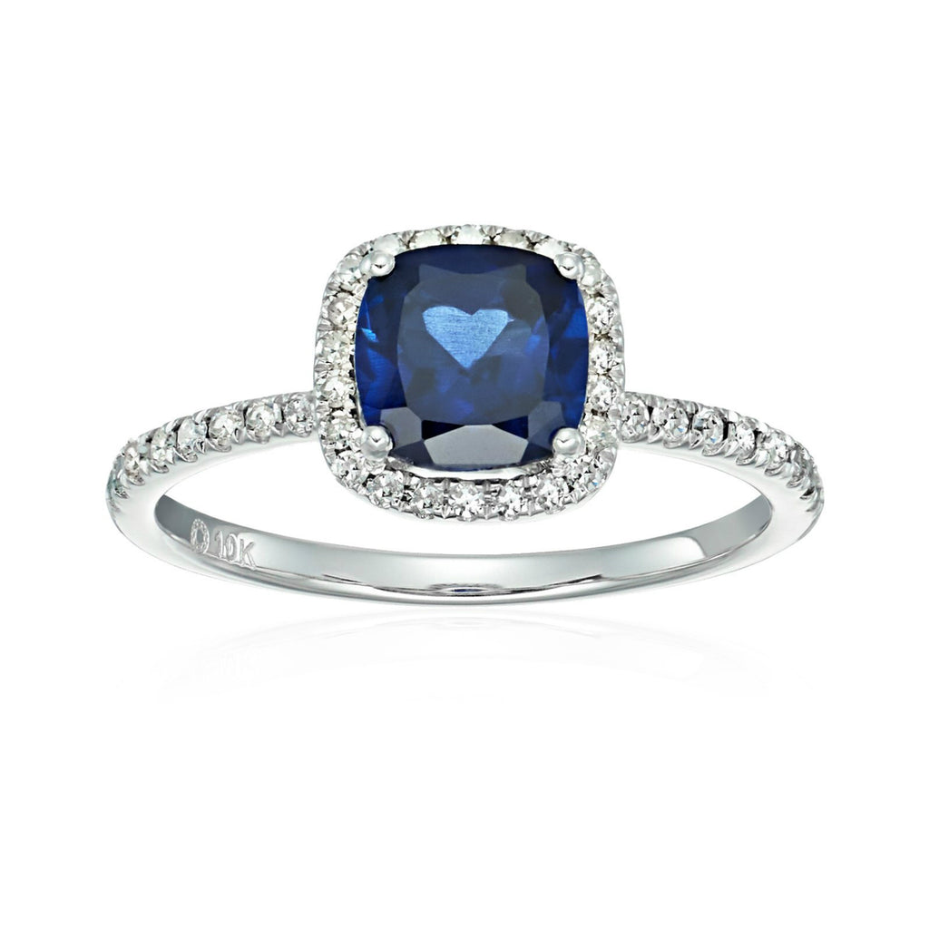 10k White Gold Created Blue Sapphire and Diamond Cushion Engagement Ring (1/4cttw, H-I Color, I1-I2 Clarity), - pinctore