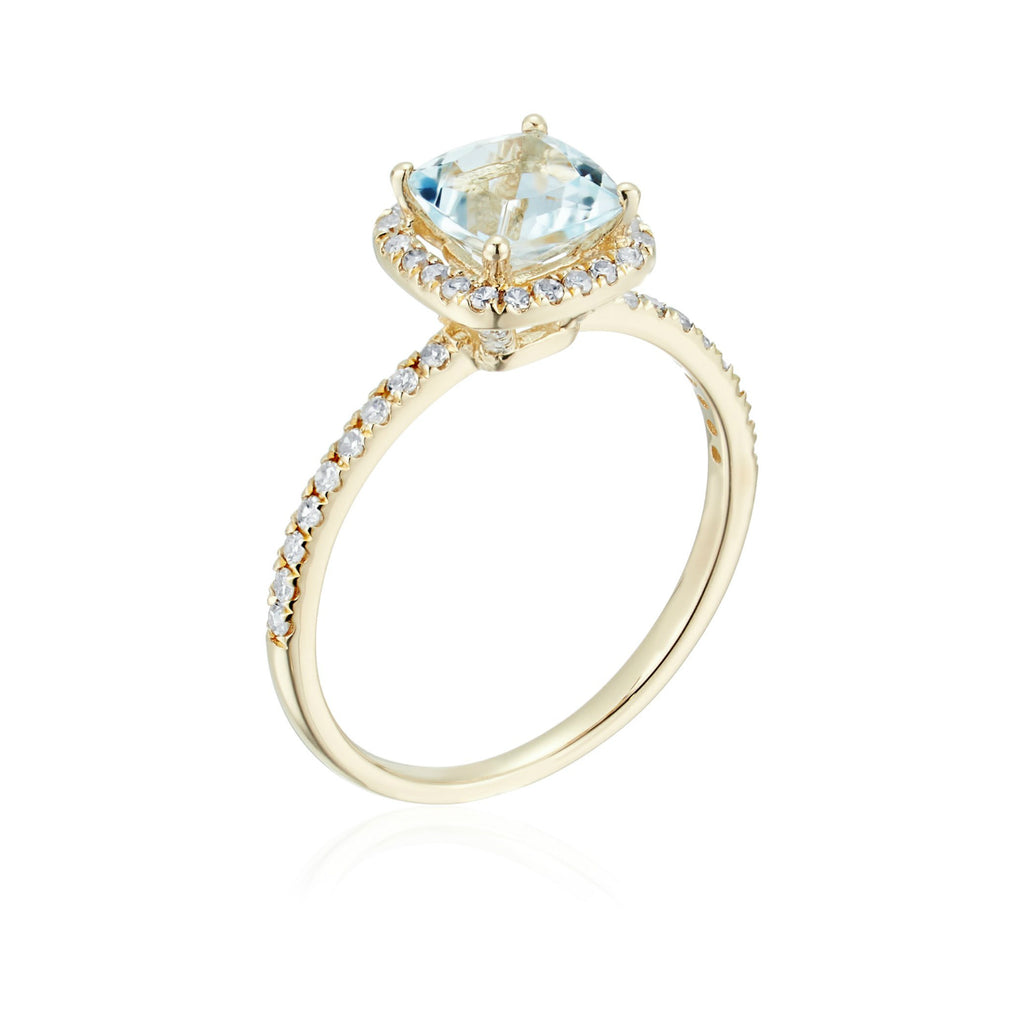 10k Yellow Gold Aquamarine and Diamond Cushion Halo Engagement Ring (1/4cttw, H-I Color, I1-I2 Clarity), - pinctore