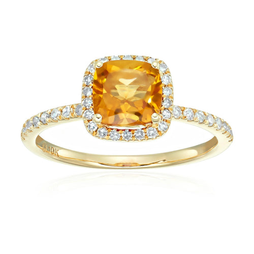 10k Yellow Gold Citrine and Diamond Cushion Halo Engagement Ring (1/4cttw, H-I Color, I1-I2 Clarity), - pinctore