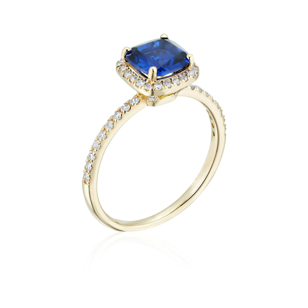 10k Yellow Gold Created Blue Sapphire and Diamond Cushion Engagement Ring (1/4cttw, H-I Color, I1-I2 Clarity), - pinctore