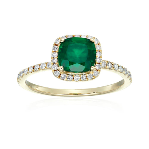 10k Yellow Gold Created Emerald and Diamond Cushion Halo Engagement Ring (1/4cttw, H-I Color, I1-I2 Clarity), - pinctore