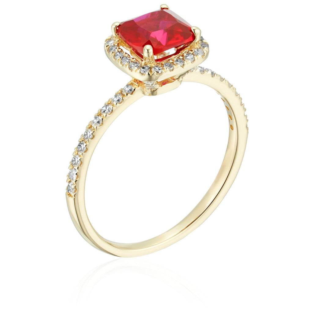 10k Yellow Gold Created Ruby and Diamond Cushion Halo Engagement Ring (1/4cttw, H-I Color, I1-I2 Clarity), - pinctore