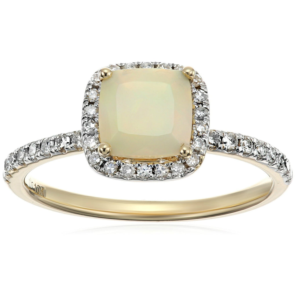 Pinctore 10k Yellow Gold Ethiopian Opal and Diamond Cushion Ring - pinctore
