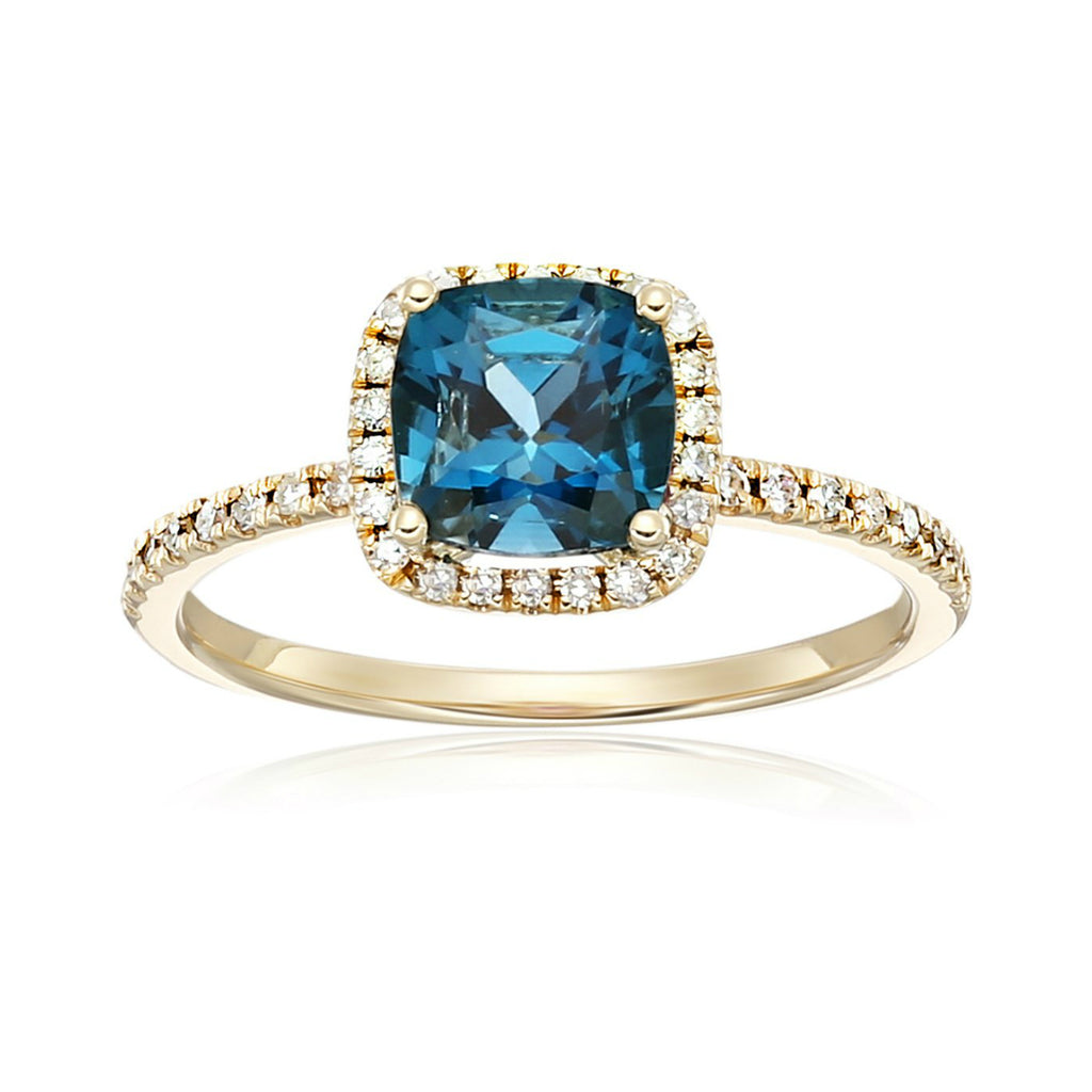 10k Yellow Gold London Blue Topaz and Diamond Cushion Halo Engagement Ring (1/4cttw, H-I Color, I1-I2 Clarity), - pinctore