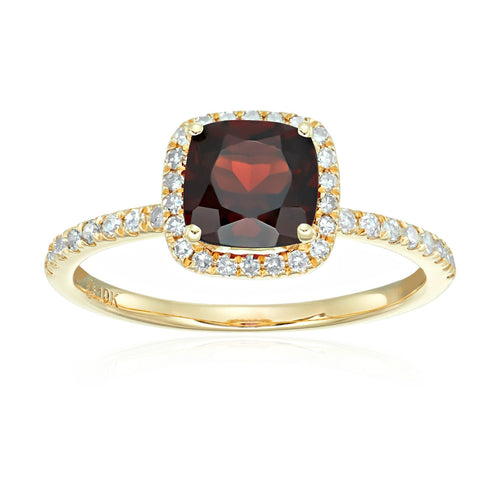 10k Yellow Gold Red Garnet and Diamond Cushion Halo Engagement Ring (1/4cttw, H-I Color, I1-I2 Clarity), - pinctore
