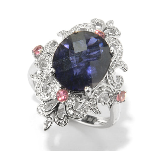 Pinctore Sterling Silver 4ctw Iolite, Pink Tourmaline & White Zircon Cocktail Ring - pinctore