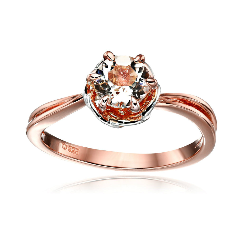 Pinctore Rose Gold-Plated Silver Morganite Round Solitaire Engagement Ring - pinctore